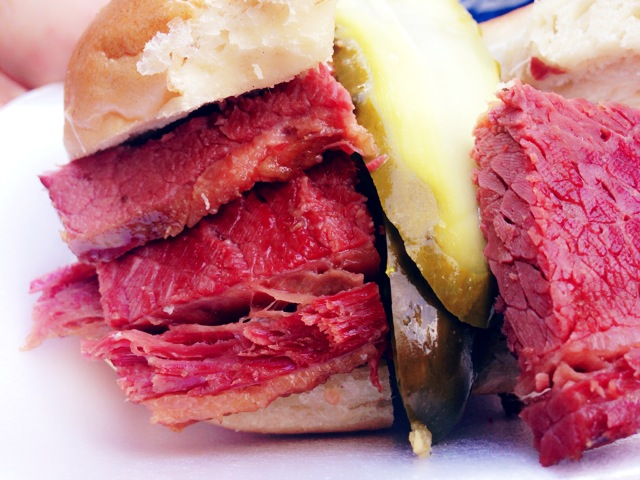 Salt Beef sandwiched between bagels.