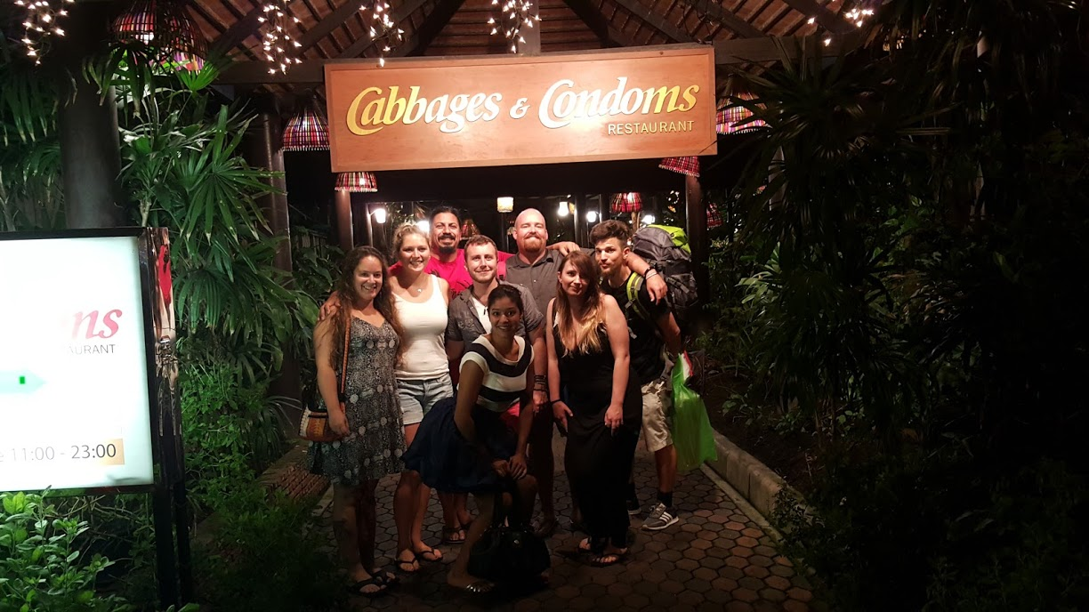 Hanging out at the Cabbages and Condoms restaurant