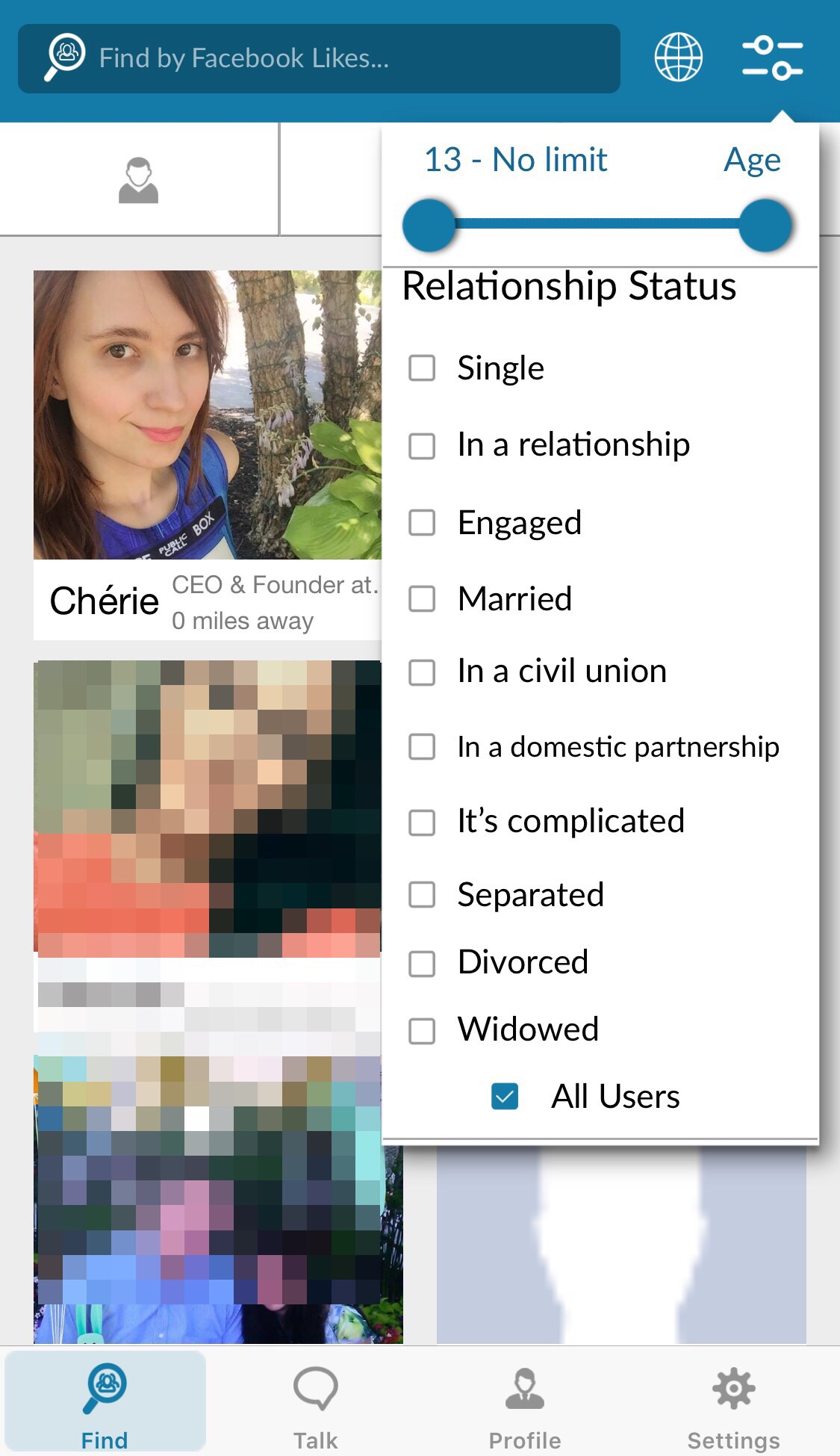 Find - relationship/age search