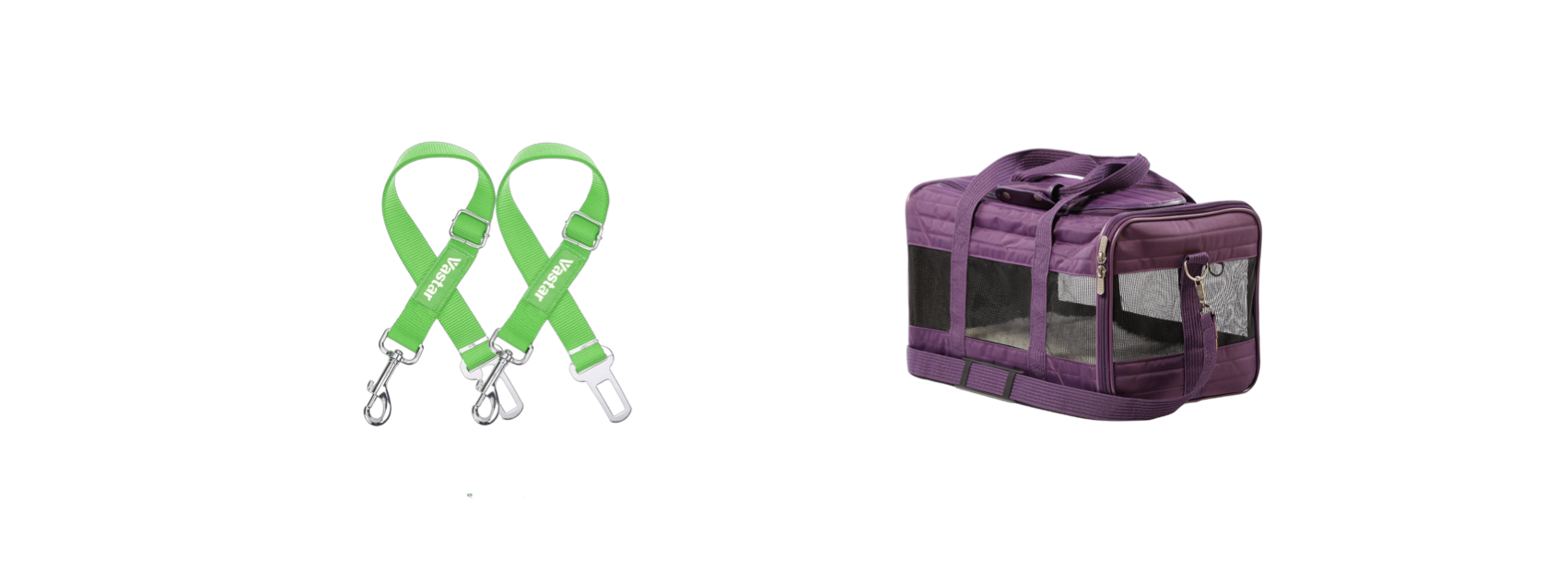 Green Dog Seat belt straps, and Purple Sherpa lined Carrier