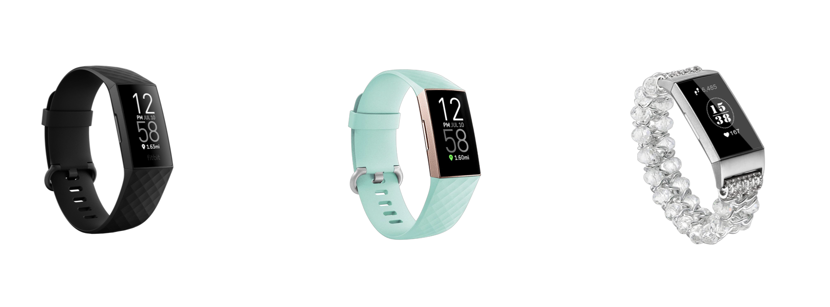 Black Fitbit Watch, Mint FItbit Band, Beaded Fitbit Band